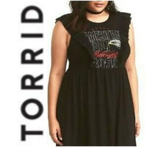 Torrid Black Graphic Ruffled Trim Dress 2/2x